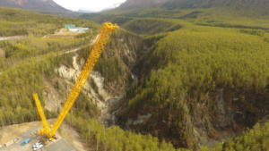 Overview of project site looking up Eklutna River