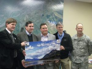 Geoff Haskett USFWS, Mayor Dan Sullivan, Curtis MCQueen CEO Eklutna Inc., Phil Shephard GLT, and Lieuenant Commander Stone USACE