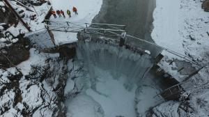 Frozen River Taken in Winter Prior to Dam Removal
