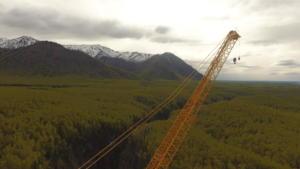 Top of crane facing SW overlooking Thunderbird Falls and Inlet