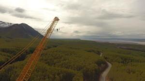 Top of crane looking down Eklutna Lake Road