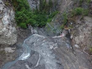 Above & Behind Dam Face During Demolition