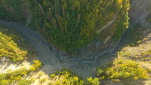 Looking up Eklutna River where lower dam once stood