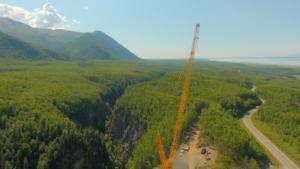 Top of crane looking down Eklutna Lake Road and Eklutna River